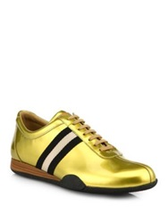 Bally Metallic Patent Leather Lace Up Sneakers Gold