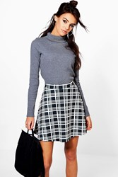 Boohoo Perrie Monochrome Check Skater Skirt Black