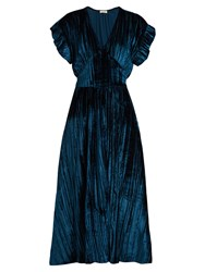 Masscob Deep V Neck Velvet Midi Dress Blue