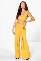Boohoo Tie Front Wide Leg Jumpsuit Spice