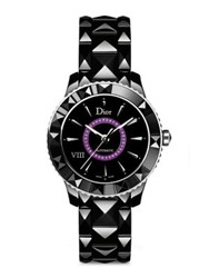 Christian Dior Dior Viii Amethyst And Black Ceramic Automatic Bracelet Watch Black Purple