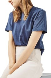 Topshop Women's Distressed Edge Tee Navy Blue