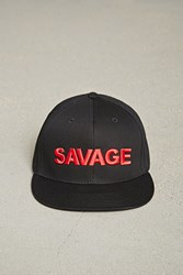 Forever 21 Men Savage Embroidered Cap Black Red