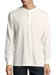 Weatherproof Vintage Long Sleeve Jersey Henley Shirt Winter White