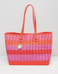 Silvian Heach East West Raffia Tote Bag Red Pink