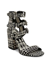 Dolce Vita Edin Leather Block Heel Sandals Black Tribal Print