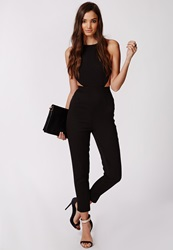 Missguided Strappy Cut Out Backless Jumpsuit Black Black
