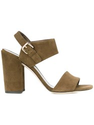 Stuart Weitzman Chunky Heel Sandals Women Leather Suede 37 Green
