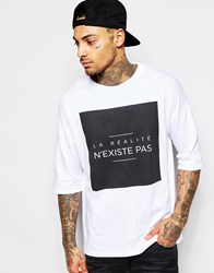 Asos Oversized T Shirt With Typographic Print And Wide Neck Trim White