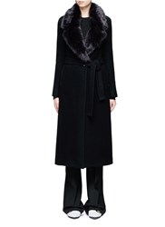 Helmut Lang Detachable Faux Fur Collar Wool Coat Black