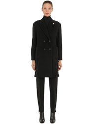 Lardini Double Breasted Wool And Cashmere Coat Black