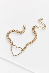 Urban Outfitters Floating Heart Bracelet Gold