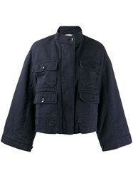 Closed Wide Sleeve Jacket Blue