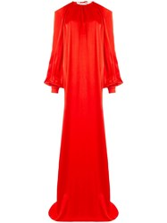 Rosetta Getty Cold Shoulder Gown Red
