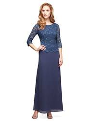 Alex Evenings Petite Mock Lace And Chiffon Dress Wedgewood