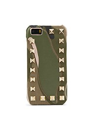 Valentino Studded Camouflage Print Leather Iphone 5 5S Case Green Camo