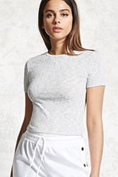 Forever 21 Ribbed Knit Crop Top Heather Grey