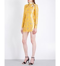 Alessandra Rich Chinese Braid Floral Lace Dress Yellow