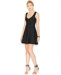 Guess Fit And Flare Bandage Dress Jet Black