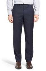 Ted Baker Men's London 'Jefferson' Flat Front Solid Wool Trousers Navy