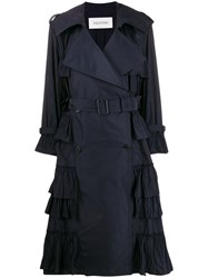 Valentino Double Breasted Pleated Trench Coat Blue