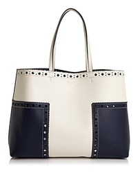 Tory Burch Block T Brogue Color Block Leather Tote Royal Navy