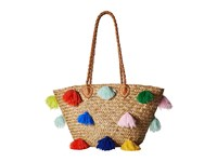 San Diego Hat Company Bsb1566 Seagrass Tote With Multicolored Poms And Pleather Handle Natural Tote Handbags Beige