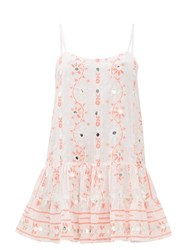 Juliet Dunn Mirror Embroidered Cotton Mini Dress Red White