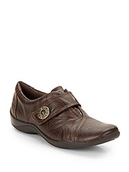 Clarks Artisan Kess Betty Leather Flats Dark Brown