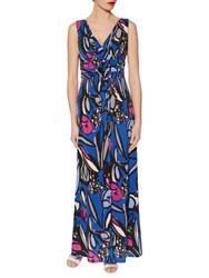 Gina Bacconi Abstract Floral Print Jersey Maxi Dress Cobalt Blue