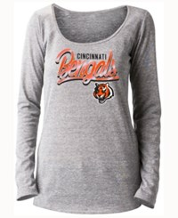 5Th And Ocean Women's Cincinnati Bengals Lurex Foil Long Sleeve T Shirt Gray