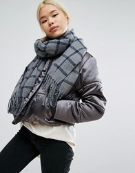 Pieces Oversized Check Scarf Grey Check