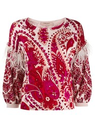 Twin Set Printed Feather Trim Jumper 60