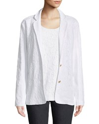 Joan Vass Floral Lace Two Button Jacket Plus Size White