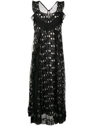 Red Valentino Striped Dotted Maxi Dress Black