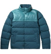 Bottega Veneta Panelled Intrecciato Leather And Shell Quilted Down Jacket Blue