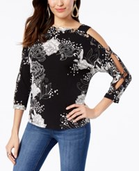 Thalia Sodi Off The Shoulder Dolman Grommet Knit Top Created For Macy's Linear Blossoms