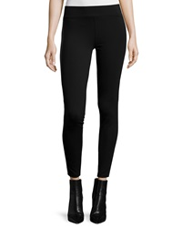 Neiman Marcus Leather Trim Ponte Leggings Black