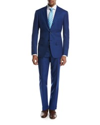 Kiton Textured Solid Two Piece Suit High Blue