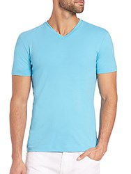 Giorgio Armani Stretch Cotton V Neck Tee Aqua