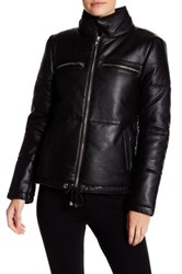 W118 By Walter Baker Genuine Leather Zip Up Jacket Black