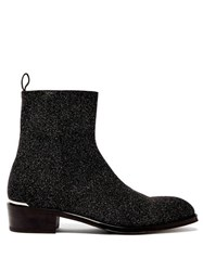 Alexander Mcqueen Glitter Leather Ankle Boots Black Multi