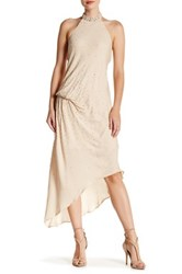 Haute Hippie Asymmetrical Beaded Silk Dress Beige