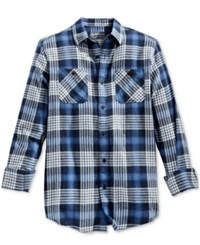 American Rag Men's Grant Plaid Flannel Shirt Only At Macy's Basic Navy
