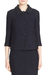 Women's St. John Collection 'Midnight' Metallic Knit Jacket With Hand Beaded Collar And Cuffs