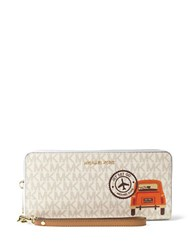Michael Michael Kors Drive Away Leather Printed Wristlet Wallet Vanilla Luggage