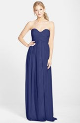 Women's Donna Morgan 'Laura' Ruched Sweetheart Silk Chiffon Gown Midnight