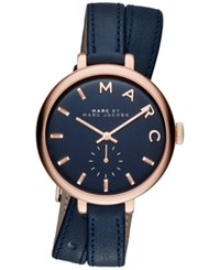 Marc Jacobs Women's Sally Blue Double Wrap Leather Strap Watch 36Mm Mbm8662 Rose Gold