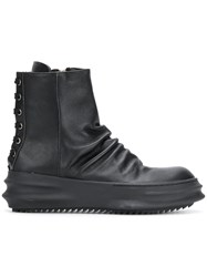 D.Gnak Laced Back Boots Leather Rubber Black