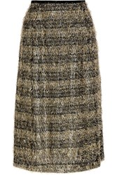 Isa Arfen Fringed Striped Lame And Jersey Midi Skirt Gold